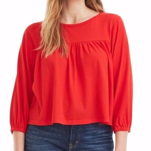 NWT Jcrew Drapey Popover Top Small Red3/4 Sleeves